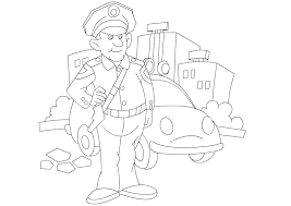 Various Jobs Coloring Pages | Coloring Pages for Kids | Color Policeman