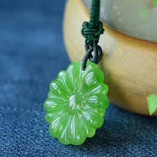 whole fine carving green natural stone pendants flower pendant sweater chain necklace for women meaning lucky simple fashion jewelry silver bangles