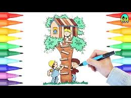 Tree House Coloring Pages I Coloring Videos For Kids Youtube