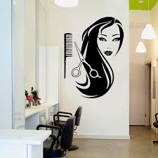 Hairdressing Shop <b>Wall</b> stickers Decoration <b>Beauty Girl</b> Long Hair ...