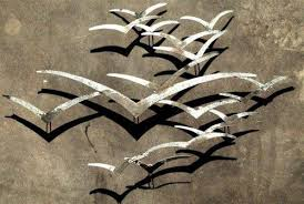 silver seagulls wall art