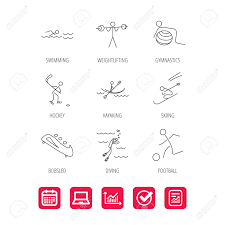 Swimming Football And Skiing Icons Ice Hockey Diving And Gymnastics