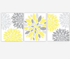 yellow and grey canvas wall art