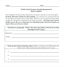 Book Report Template College Co Format High School Non