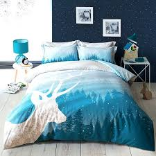 turquoise duvet cover sets papamima fashion tree deer blue forest bedding set 4pcs queen size bedlinen