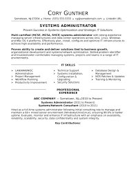 Sample Resume For An Experienced Systems Administrator Monster Com