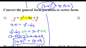 day 7 hw 1 and 2 convert the general form parabola to vertex form