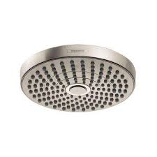 fixed shower head in brushed nickel