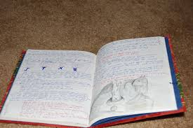 here s a couple more pages in the red book of shadows i was examining some runes on one i like the ilration of a cat behind a candle i did on the
