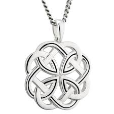 irish necklace sterling silver large heavy celtic knot pendant