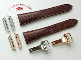 cartier style brown double tail crocodile patterned genuine leather apple watch band strap
