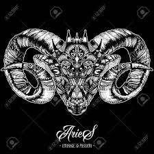 Zodiacal Aries Ink Drawing Isolated On Black Ram Head In Zentangle Style Zodiac Sigh Made Of Ethnic Doodle Pattern Trendy Tattoo Design Hipster