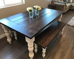 Rustic kitchen table with bench Bench Seating Turned Leg Farmhouse Table Farmhouse Table Beard Board Rustic Kitchen Table Kitchen Table Rustic Dining Table Table Bonjourminicom Rustic Dining Table Etsy