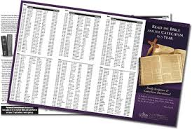 Read Bible In A Year Chart Printable Chart Read The Bible And The Catechism In A Year The Coming Home
