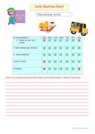 Daily Routine Chart English Esl Worksheets
