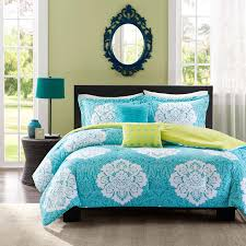 Aqua Blue Lime Green Floral Damask Print Comforter Bedding Set Girls Teen  Full Twin (twin