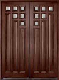 Contemporary Series Mahogany Solid Wood Front Entry Door - Double - DB-975  DD