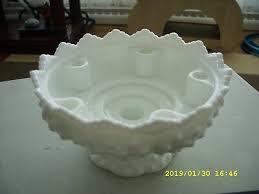vintage fenton hobnail milk glass pedestal bowl 6 horn candle dish vase
