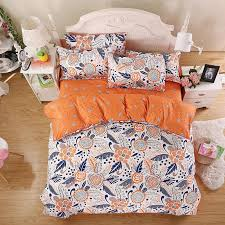 whole summer new bedding sets minimalist style orange sunflower reactive printing bed sheets quilt cover pillow king queen full twin sheet metal pillow