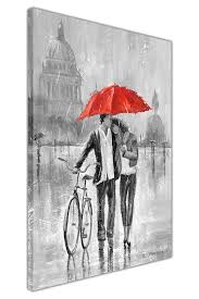 black and white couple with umbrella and bicycle  on couple with red umbrella wall art with black and white couple with umbrella and bicycle on framed canvas