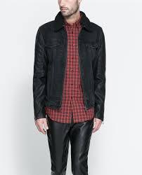 denim jacket with leather sleeves zara