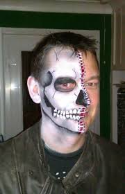 half skull male day of the dead boy man guy face paintingsskeleton
