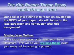 the kite runner theme essay outline rough draft ppt the kite runner theme essay outline rough draft