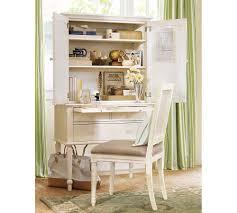 secretary desk with hutch cream
