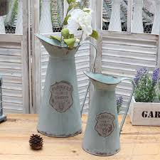 Decorative Water Pitcher APSOONSELL Metal Flower Vase Decorative Tin Water Pitcher Style 35