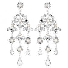 silver plated diamante and pearl fl chandelier drop earring
