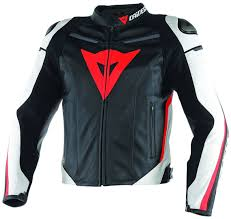 dainese g super fast motorcycle leather jacket clothing jackets black white red