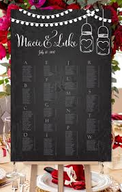 Wedding Seating Chart Poster Mason Jars Hearts Chalkboard Print Ready Digital File