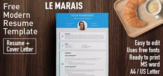 Modern Looking Font For Resume Le Marais Free Modern Resume Template