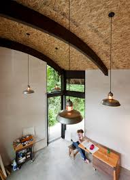 seattle vaulted ceiling lighting with desk accessories home office and wood workbench white wall