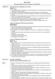 Assistant Property Manager Resume Samples Velvet Jobs