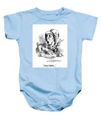Papermoon Size Chart Mad Hatter Art Print With Book Quote Baby Onesie