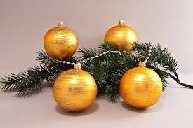 4 Weihnachtskugeln 8cm Gold Matt Geringelt Lauschaer Christbaumschmuck