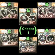 details about gothic tattoo eye decals mardi gras makeup face art day dead sugar skull choose1