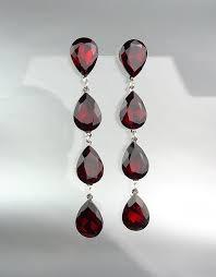 glitzy garnet red czech crystals chandelier pageant prom bridal earrings 4320l