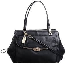 Coach Madison Madeline East West Leather Satchel Black 25166 NWT  398