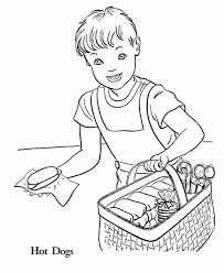 July 4th Coloring Pages Hot Dog Vendor Independence Day