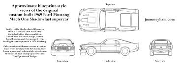 ford mustang top view. rough blueprint-style views of the 1969 ford mustang mach 1 shadowfast supercar top view