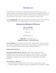 Cv Objective Examples Uk Professional Resumes Auto Mechanic Resume
