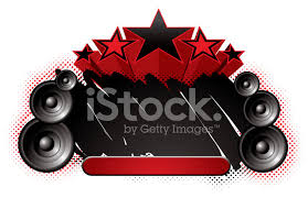 speakers abstract. abstract pop music themed banner with stars and speakers