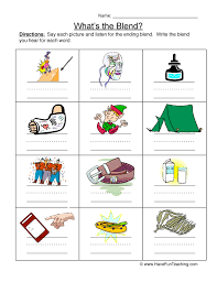 Ending Blends Worksheet 1