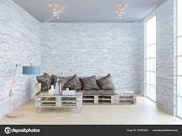 Weergave Van Nieuwe Woonkamer Interieur Met Pallets Sofa Grote Ramen