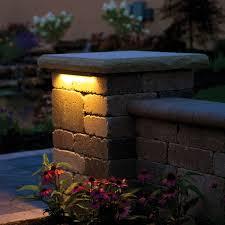 atlantic water gardens white led hardscape light installed in block wall
