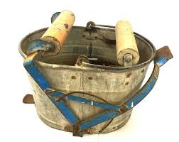 Vintage Galvanized Tin Wringer Mop Bucket Wooden Rollers