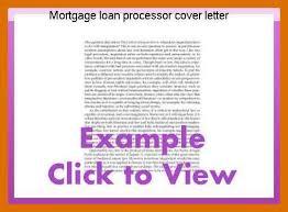 5 6 Mortgage Loan Processor Cover Letter Formatmemo