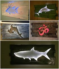 diy backlit pallet wall art
